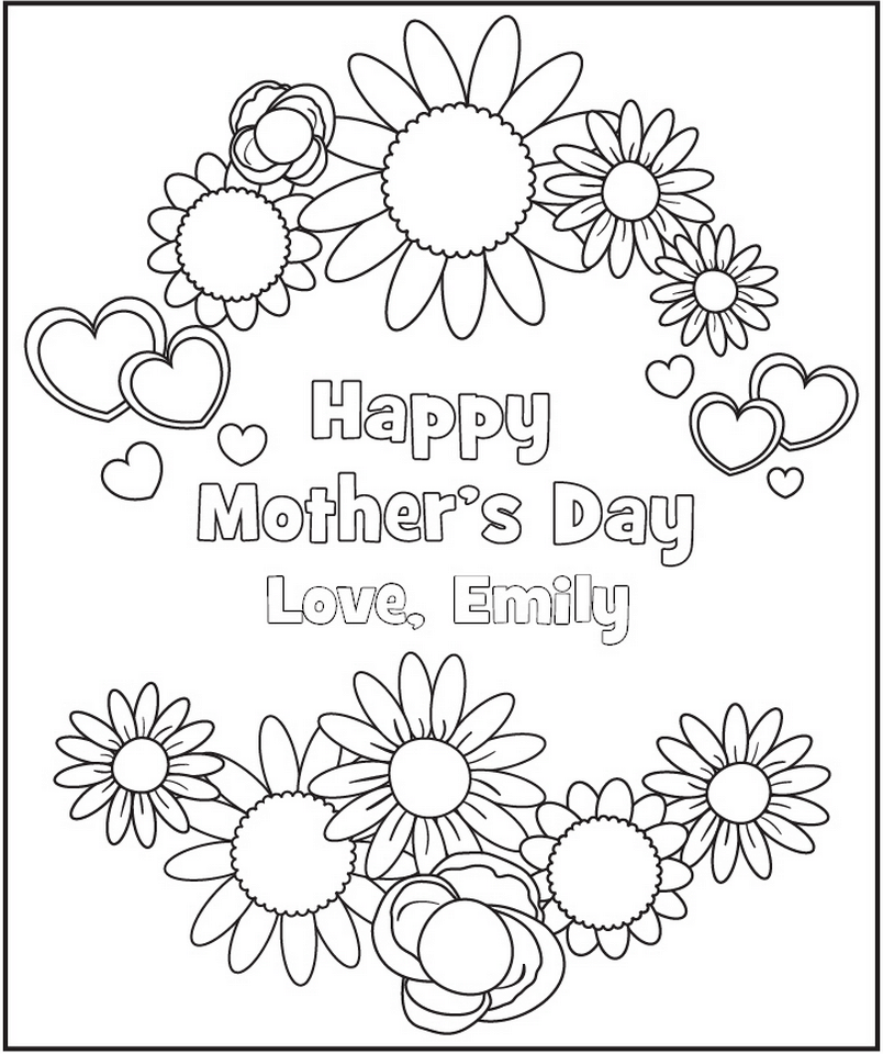 graphic about Printable Mothers Day Pictures called Cost-free Customized Printable Moms Working day Coloring Webpage