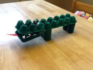 Egg Carton Alligator Craft for Preschoolers